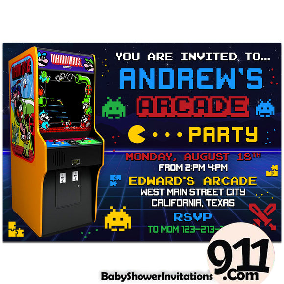 Arcade Birthday Party Invitation Arcade Theme Birthday Party Invitation Ax3 - babyshowerinvitations911.com