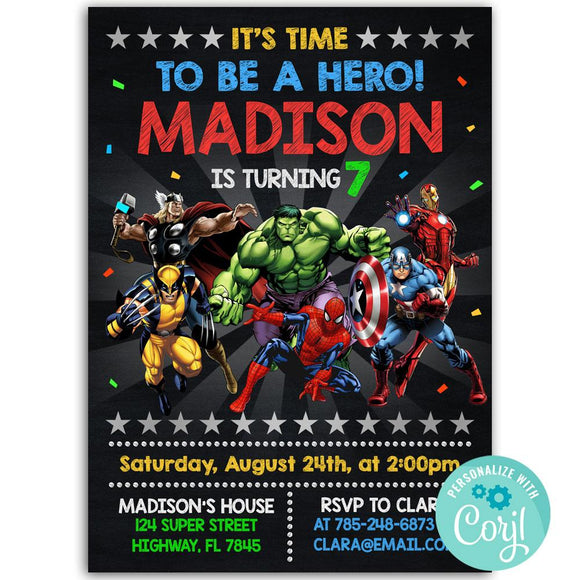 Avengers Birthday Party Invitation, Avengers Theme Birthday Party Invitation Corjl