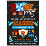 Basketball Pool Party Invitation, Basketball Pool Party Theme Birthday Invitation Corjl