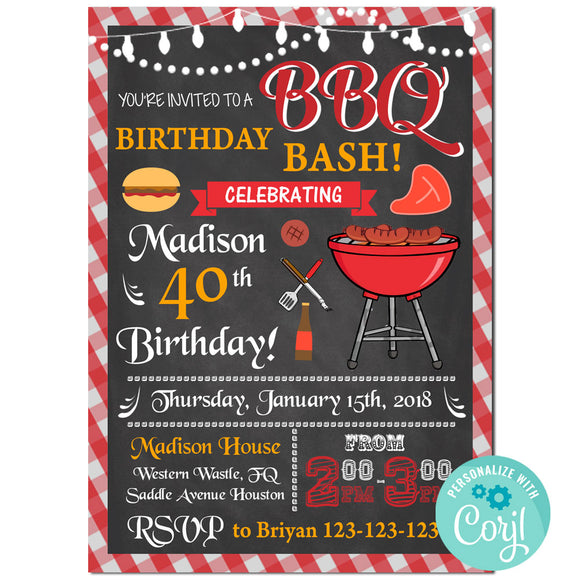 Bbq Birthday Party Invitation, Bbq Theme Birthday Party Invitation  Corjl- babyshowerinvitations911.com