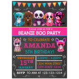 Beanie Boo Birthday Party Invitation, Beanie Boo Theme Birthday Party Invitation Corjl