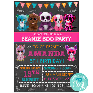 Beanie Boo Birthday Party Invitation, Beanie Boo Theme Birthday Party Invitation Corjl- babyshowerinvitations911.com