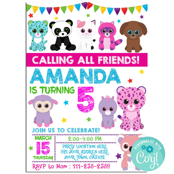 Beanie Boo Birthday Party Invitation, Beanie Boo Party Theme Birthday Party Invitation Corjl- babyshowerinvitations911.com