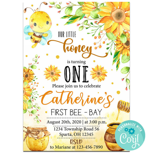 Bee Birthday Party Invitation, Bee Invitation, Bee Theme Birthday Party Invitation Corjl- babyshowerinvitations911.com