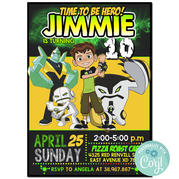 Ben 10 Birthday Party Invitation, Ben 10 Theme Birthday Party Invitation Corjl