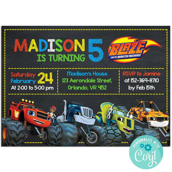 Blaze and the Monster Machine Birthday Party Invitation, Blaze and the Monster Machine Theme Birthday Party Invitation Corjl