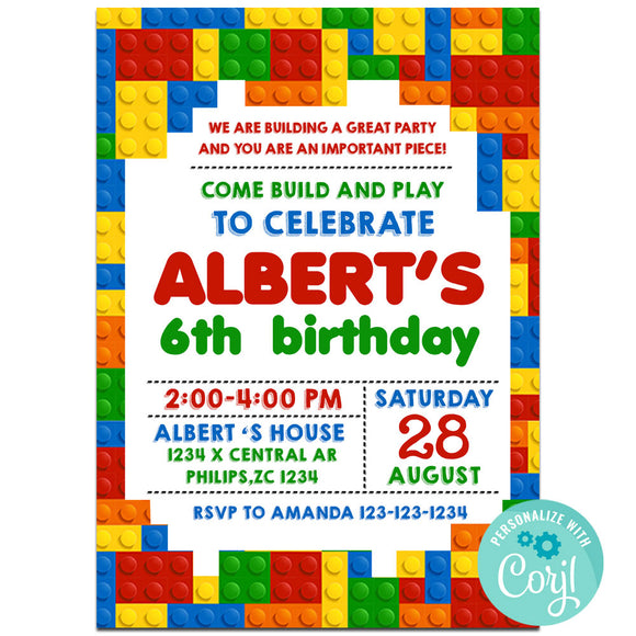Building block lego Birthday Party Invitation, Building block lego Theme Birthday Party Invitation Corjl- babyshowerinvitations911.com