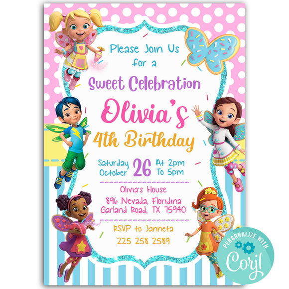 Butterbeans Birthday Party Invitation, Butterbeans Birthday Party Invitation Corjl