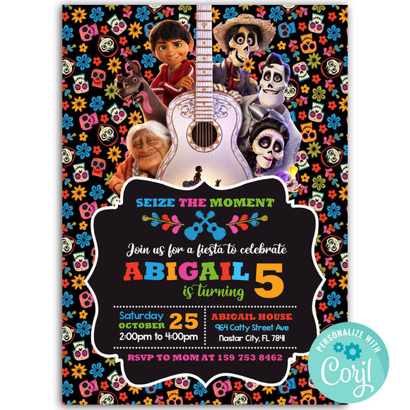 Coco Birthday Party Invitation, Coco Theme Birthday Party Invitation Corjl