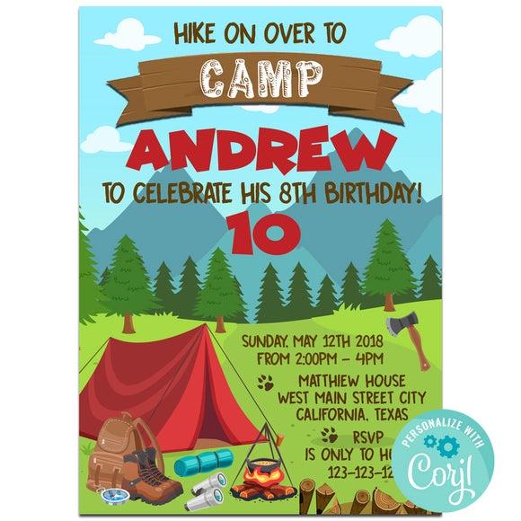 Camping Birthday Party Invitation, Camping Theme Birthday Party Invitation Corjl- babyshowerinvitations911.com