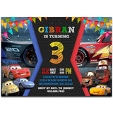 Cars 3 Invitation Cars Party Cars 3 Birthday Cars Movie Cars 3-personalize911