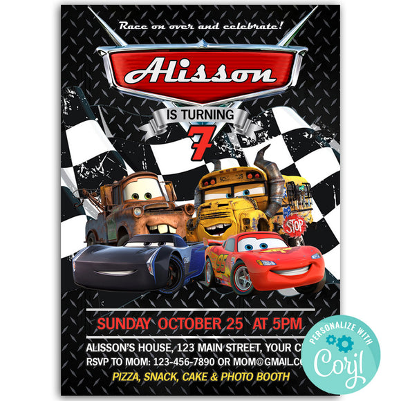 Cars 3 Birthday Party Invitation, Cars 3 Theme Birthday Party Invitation Corjl