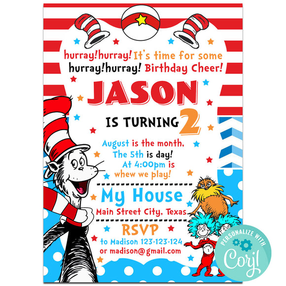 Cat in the Hat Birthday Party Invitation, Cheers And Beers Theme Birthday Party Invitation Corjl- babyshowerinvitations911.com