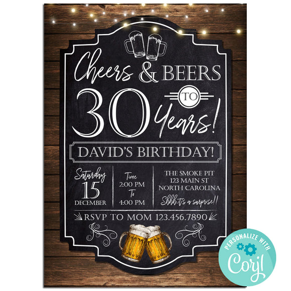 30th Birthday Party Invitation, Cheers And Beers Theme Birthday Party Invitation Corjl