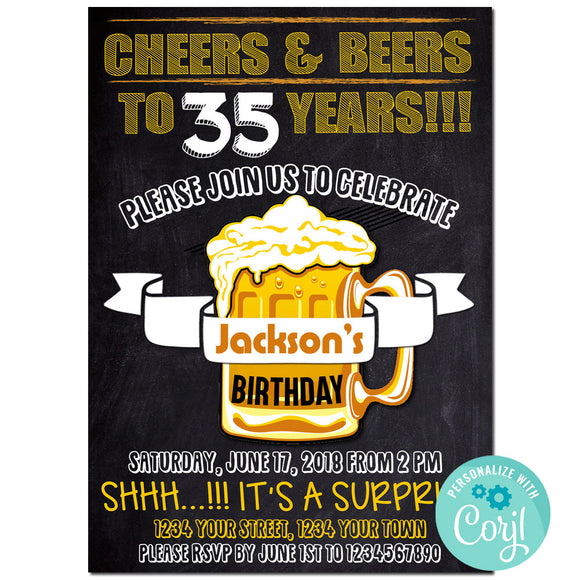 35th Birthday Party Invitation, Cheers And Beers Theme Birthday Party Invitation Corjl - babyshowerinvitations911.com