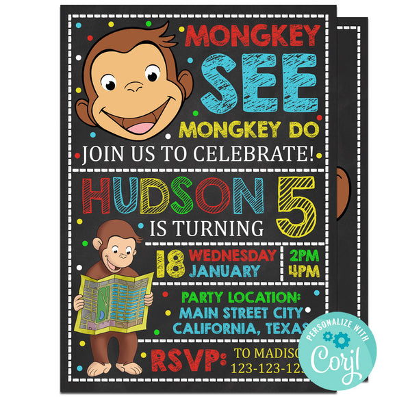 Curious George Birthday Party Invitation, Curious George Theme Birthday Party Invitation Corjl