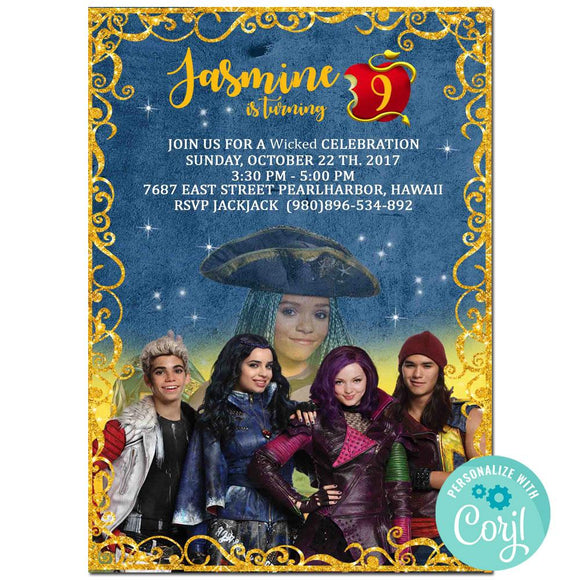 Descendants Birthday Party Invitation, Descendants Theme Birthday Party Invitation Corjl