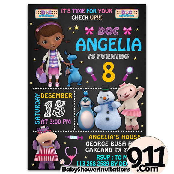 Doc McStuffins Birthday Party Invitation Ak 26032020, Personalize-Invitation | BabyShowerInvitations911.com