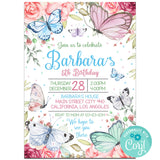 Butterfly Birthday Party Invitation, Butterfly Theme Birthday Party Invitation Corjl- babyshowerinvitations911.com