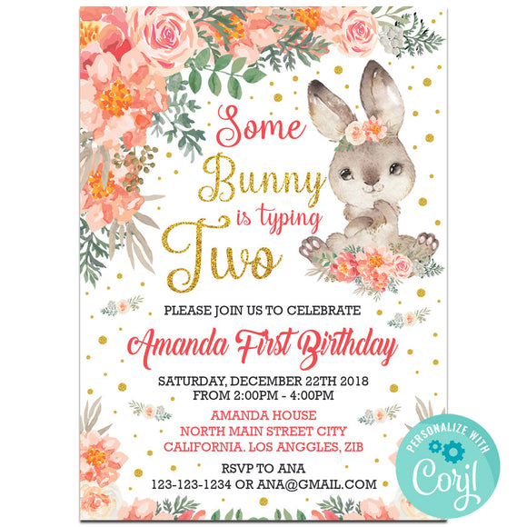 Bunny Birthday Party Invitation, Bunny Theme Birthday Party Invitation Corjl- babyshowerinvitations911.com
