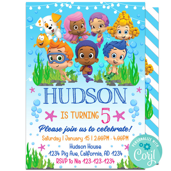 Bubble Guppies Birthday Party Invitation, Bubble Guppies Theme Birthday Party Invitation Corjl