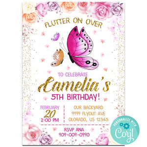 Butterfly Birthday Party Invitation, Butterfly Theme Birthday Party Invitation Corjl