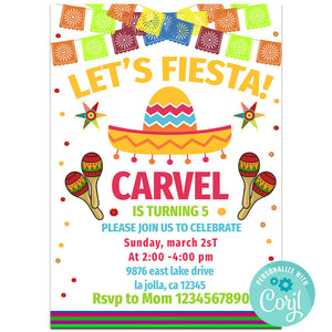 Fiesta Birthday Party Invitation, Fiesta Theme Birthday Party Invitation Corjl- babyshowerinvitations911.com