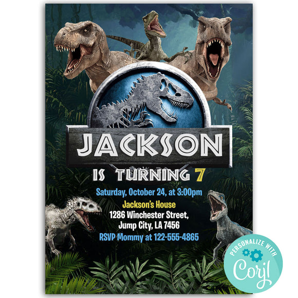 Jurassic World Birthday Party Invitation, Jurassic World Theme Birthday Party Invitation Corjl