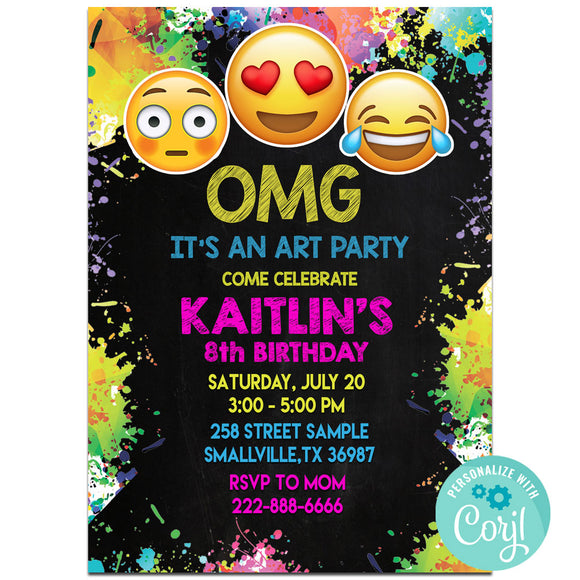 Emoji Art  Birthday Invitation Invitation, Emoji Art Theme Birthday Party Invitation, Emoji Art Birthday Party Corjl- babyshowerinvitations911.com