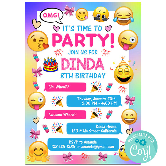 Emoji  Birthday Party Invitations, Emoji Party Theme Birthday Invitation Corjl- babyshowerinvitations911.com