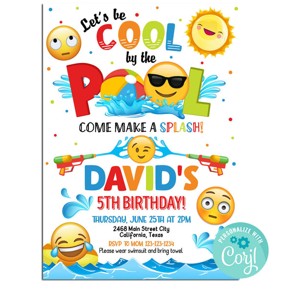 Emoji Pool Birthday Party Invitations, Emoji Pool Party Theme Birthday Invitation Corjl- babyshowerinvitations911.com