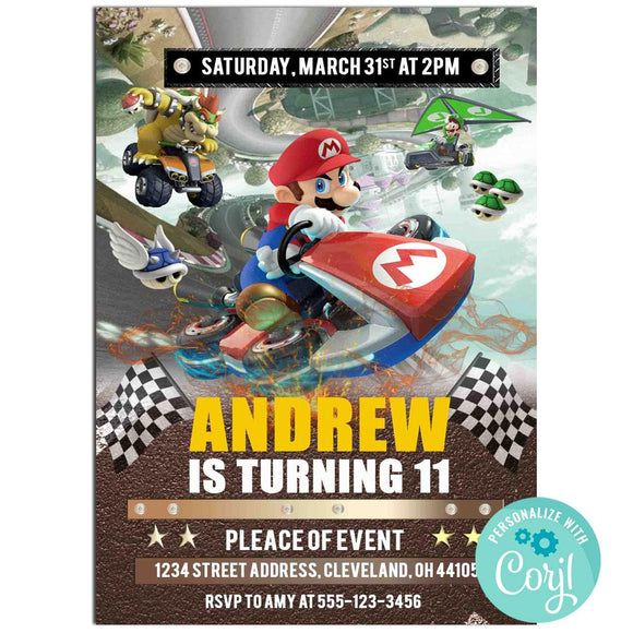 Go Kart Birthday Party Invitation, Go Kart Theme Birthday Party Invitation Corjl