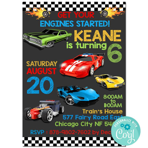 Hot Wheels Birthday Party Invitation, Hot Wheels Theme Birthday Party Invitation Corjl