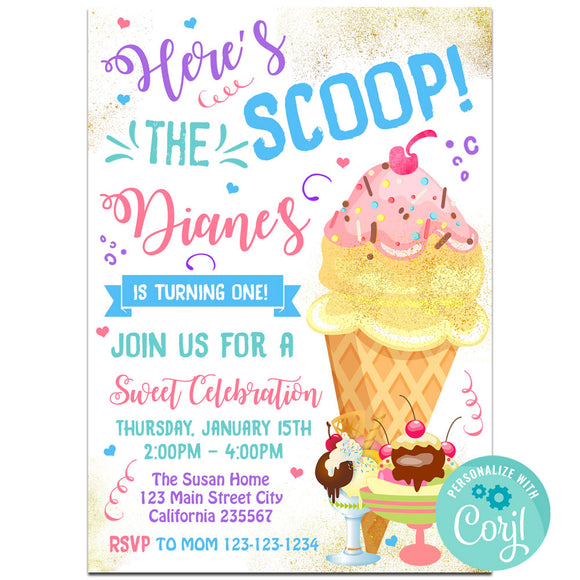 Ice Cream Birthday Party Invitation, Ice Cream Theme Birthday Party Invitation Corjl- babyshowerinvitations911.com