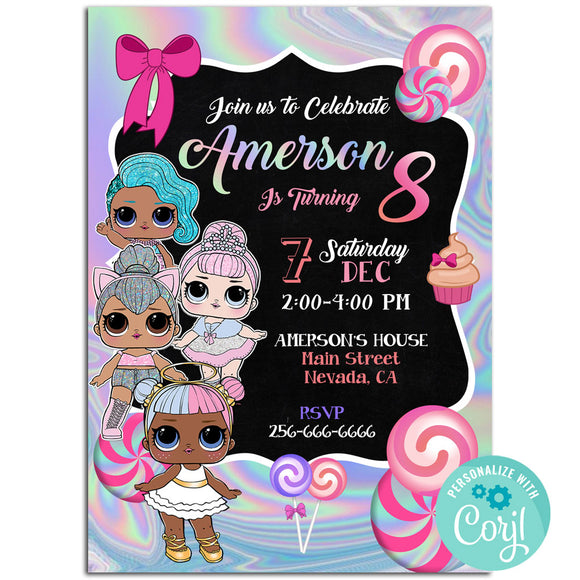 Lol Surprise Dolls Birthday Party Invitation, Lol Surprise Dolls Birthday Party Invitation Corjl