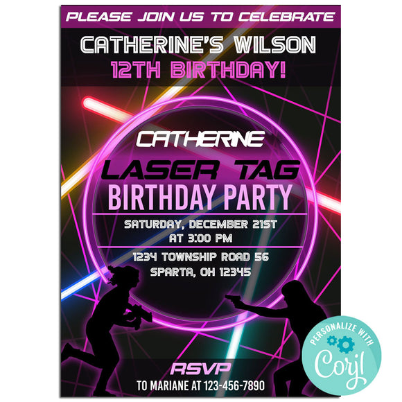 Laser Birthday Party Invitation, Laser Theme Birthday Party Invitation Corjl- babyshowerinvitations911.com
