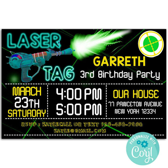 Laser Birthday Party Invitation, Laser Theme Birthday Party Invitation Corjl