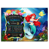 Little Mermaid Birthday Party Invitation Little Mermaid Theme Birthday Party Invitation A1-personalize911