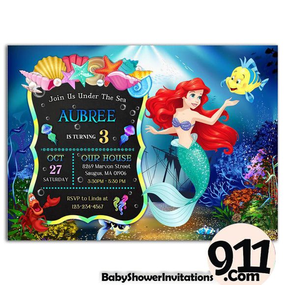 Little Mermaid Birthday Party Invitation Little Mermaid Theme Birthday Party Invitation A1 - babyshowerinvitations911.com