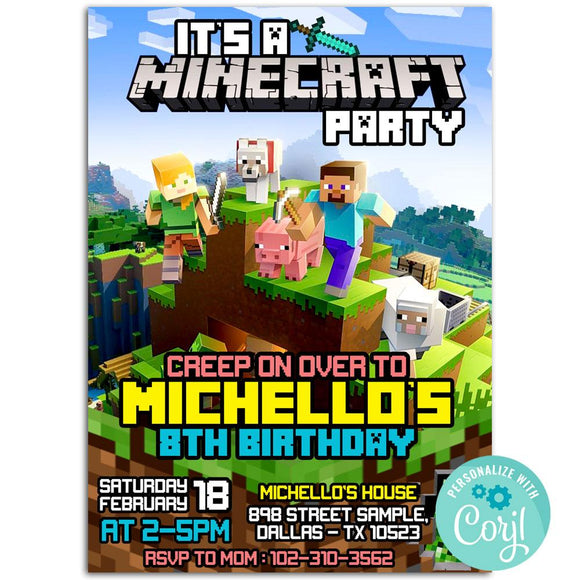 Minecraft Birthday Party Invitation, Minecraft Theme Birthday Party Invitation Corjl