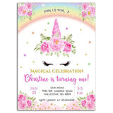 Magical Unicorn Birthday Party Invitation Magical Unicorn Theme Birthday Party Invitation A1-personalize911