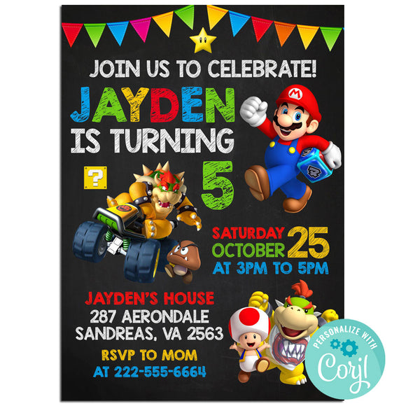 Mario Birthday Party Invitation, Mario Theme Birthday Party Invitation Corjl