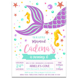 Mermaid Birthday Party Invitation, Mermaid Theme Birthday Party Invitation Corjl