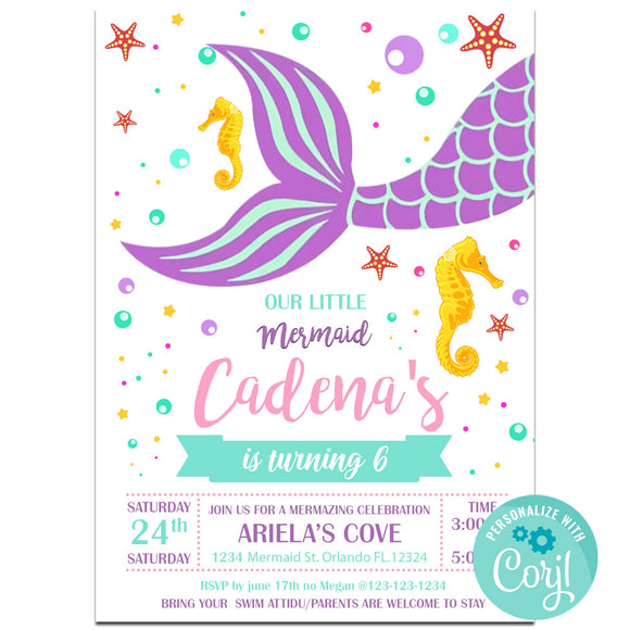Mermaid Birthday Party Invitation, Mermaid Theme Birthday Party Invitation Corjl- babyshowerinvitations911.com