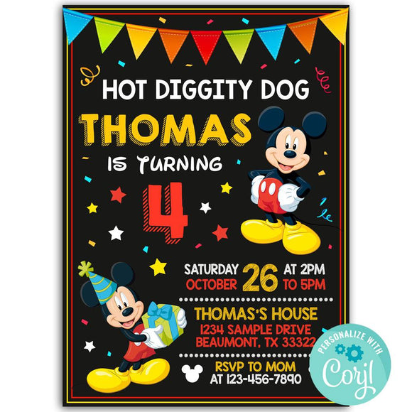 Mickey Mouse Birthday Party Invitation, Mickey Mouse Theme Birthday Party Invitation Corjl