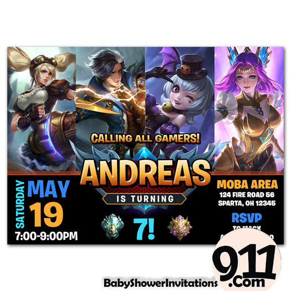 Mobile Legends Birthday Party Invitation Ak1 26032020, Personalize-Invitation | BabyShowerInvitations911.com