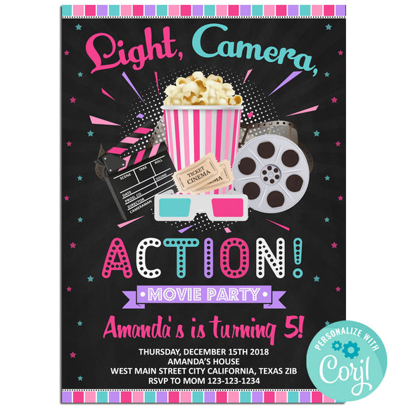 Movie Birthday Party Invitation, Movie Theme Birthday Party Invitation Corjl- babyshowerinvitations911.com