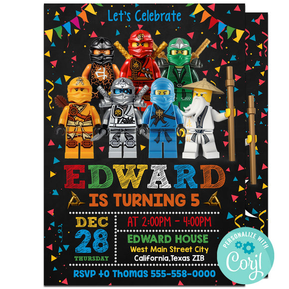 Ninjago Birthday Party Invitation, Ninjago Theme Birthday Party Invitation Corjl