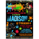 Paintbal Birthday Party Invitation, Paintbal Theme Birthday Party Invitation Corjl