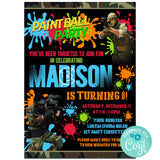 Paintbal Birthday Party Invitation, Paintbal Theme Birthday Party Invitation Corjl - babyshowerinvitations911.com